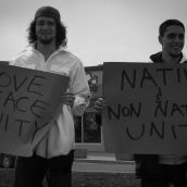 &quot;Love Peace Unity&quot; &quot;Native and non-natives unite&quot; 