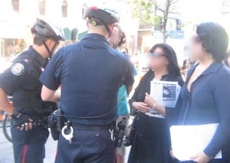 Police questioning WCCC organizers at Mapuche Political Prisoner rally