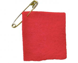 Demonstrators wear the Carre Rouge - red felt patch symbolizing the right to education