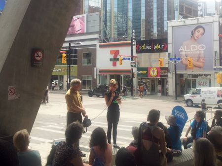 Start of the First Story Toronto tour at Yonge and Dundas
