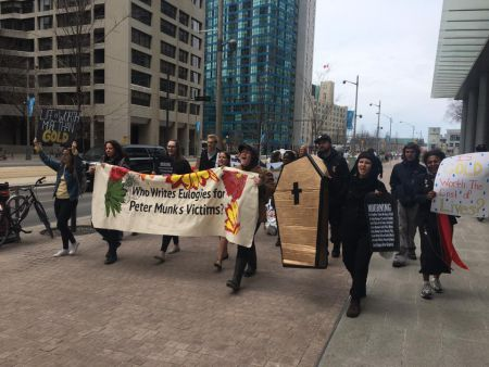 After rallying outside the AGM, supporters marched to Barrick's headquarters at Front and King.
