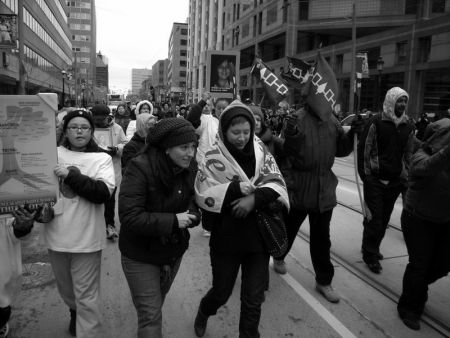Photo by John Bonnar. Vigil in Toronto for missing and murdered indigenous women