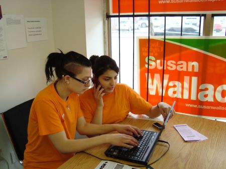 Youth-run and grassroots oriented, this campaign office looked a little different from other NDP campaigns in the number and diversity of working class youth involved. Rashin is on the phone coordinating teams of volunteers in St. Jamestown, the Esplanade and Regent Park.