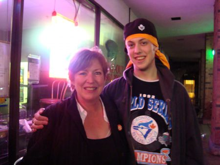 "Susan Wallace with her son at the election party on Front street: ""We have the most grassroots youth activist campaign that we have ever seen."""