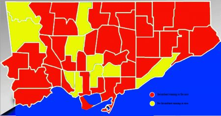 Wards with an incumbent running are coloured red