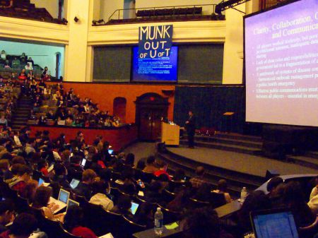 Munk OUT of UofT drops a banner during a class that Naylor guest lectured in Convocation Hall at the University of Toronto. (April 2011) We knew Naylor was corrupt back then, this week, he proved us right.