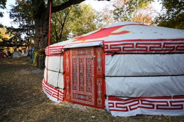 A major change to the camp in the past week has been the construction of 3 yurts, donated by a coalition of several unions. (photo by Kristyna Balaban: online only)