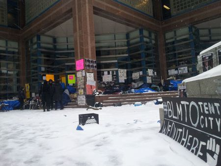 Black Lives Matter occupation of police headquarters after another cold night. April 4, 2016.
