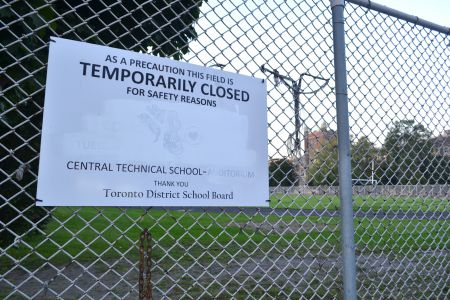 The track and field area at Central Tech has been closed to students and residents for several months.