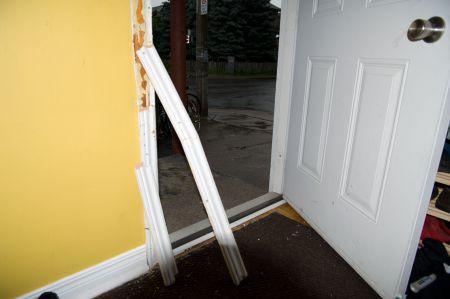 Two doors at one building were broken in