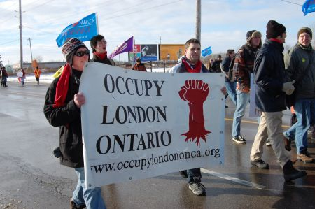 A group of activists from Occupy London marched the entire 8km from Victoria Park to the EMD picket line on Jan 21. Photo: Mick Sweetman