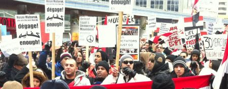 Paul Kellog photographed a rally in solidarity with the Egyptian Revolution.