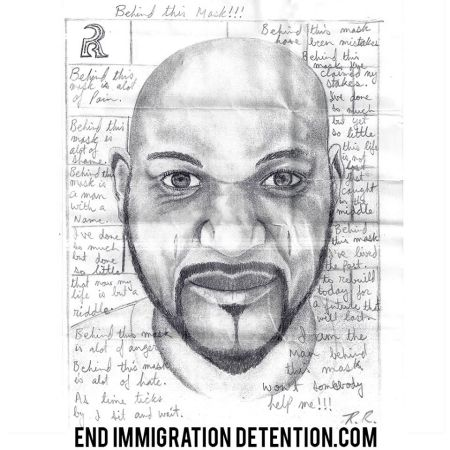 Self-portrait and poem by R. R., who is on hunger strike in immigration detention