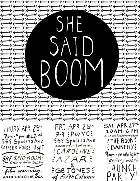 SHE SAID BOOM: INTERVIEW WITH TORONTO '80s FEMINIST PUNK BAND FIFTH COLUMN