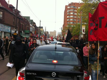 The march takes over all of Dundas on its way to Alexandra Park.  Photo by Krystalline from Rabble.