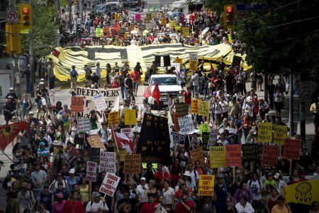 """No G20 on stolen Native land,"" chanted hundreds of demonstrators.  Photo: Activestills"
