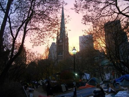 Sunset at Occupy Toronto (Photo: Graeme Bacque)