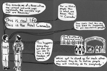 Illustration of interview outside the Temporary Detention Centre under imminent threat of arrest with Ray, and indigenous woman. (Megan Kinch)