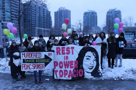 On April 13, 2014, 16-year-old Merilyn Topacio Reynoso, a leader in the Mataquescuintla, Guatemala youth movement against Canadian companies Tahoe Resources and Goldcorp's silver mine, was murdered, while her father, also a community leader and activist, was seriously injured.