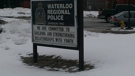 Sign outside a police station in Cambridge