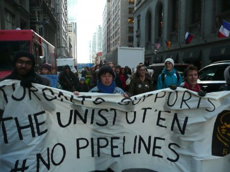"""Toronto supports the Unist'ot'en #No Pipelines,"" reads the banner. Photo: Hillary Lindsay"
