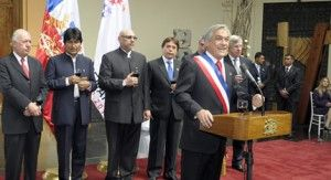 Chilean President Piñera, with Morales and other Latin American Ministers Celebrating the Chilean Stat's Bicentenary