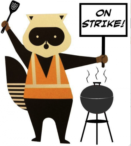 "This ""porter raccoon on strike"" meme is characteristic of the strike supporters' use of social media during the strike"