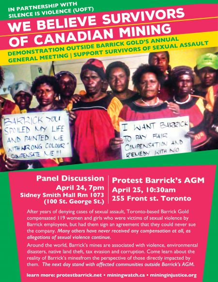 "Poster for this year's AGM protest and panel ""We Believe Survivors of Canadian Mining"""