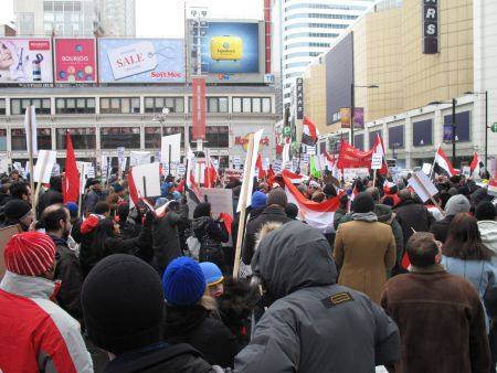 Around 600 braved the cold weather in Dundas square, at the heart of downtown Toronto (photo credit: Minus Smile)
