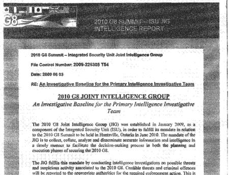 G20 Document reveals basis for Intelligence Gathering
