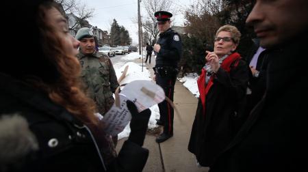 Katie Krelove delivering her letter