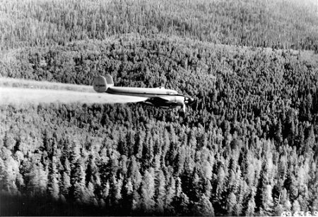 The US forest service spraying for the Spruce Budworm in 1960