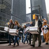 The protestors (along with a newly-enlightened kangaroo following the street theatre skit!) then delivered nearly 175,000 signatures on a petition condemning OceanaGold's lawsuit to the Canadian Trade Commissioner's Office.