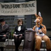 OceanaGold is suing El Salvador in the World Bank Group's International Centre for Settlement of Investment Disputes (ICSID) because El Salvador didn't grant a permit to mine gold.