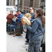The protest was MC'ed by Krysta Williams of the Native Youth Sexual Health Network, and opened and closed with drumming and songs by Shandra Spears Bombay.
