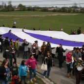 Giant Representation of the Two Row Wampum Belt - Arrives at Kanonhstaton