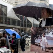 Protesters brave the rain to send a message to Barrick's shareholders. photo: Allan.Lissner.net