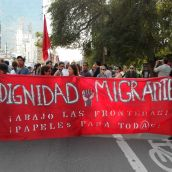 The blood of society. Dignity for migrants!  Down with the borders! Papers for all!