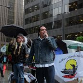 Clayton Thomas-Muller, of the Mathias Colomb Cree Nation, addresses the crowd outside Hudbay Mineral's AGM in Toronto.