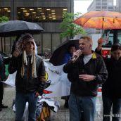 OCAP's John Clarke addresses the crowd outside Hudbay's AGM
