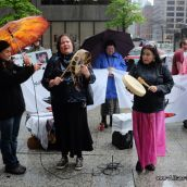 Shandra from Idle No More Toronto signs a song for Angelica Choc at Hudbay Protest