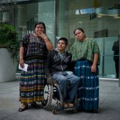 Angelica Choc, German Chub, and Rosa Elbira emerged from the shareholder meeting, where they had just addressed Hudbay's executive and shareholders. All three are members of Indigenous Mayan Q'eqchi' communities in El Estor, Guatemala and victims of repression carried out by and for Hudbay Minerals, (including murder, a shooting-paralyzing and the gang-rapes of 11 women villagers.