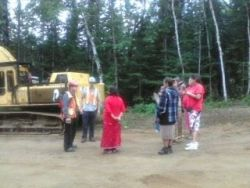 "photo by Shannon Chief ""Council of Traditional elder women demanding the logging activties still going to be completly stopped!"""
