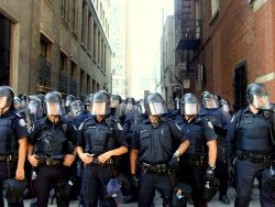 Riot Police in Toronto, primed to protect the G20 by beating up protestors, June 26, 2010.