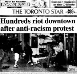 Toronto Star's front page coverage of the Yonge Street Uprising