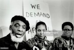 Dudley Laws, Numvuyo Hyman and Akua Benjamin of the Black Action Defense Committee
