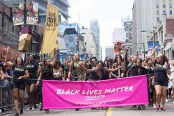 Black Lives Matter Toronto marches at Pride as 2016's Honoured Group on Sunday July 3rd. Photo: Fatin Chowdhury