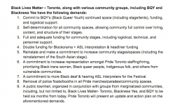 Black Lives Matter Toronto's demands of Pride Toronto. Signed by Pride's executive director on July 3, 2016, when BLM-TO stopped the Pride parade to raise concerns about Pride.