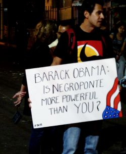 Nov. 25, 2009 - Juan Aguilar, a student at the Autonomous University of Honduras, is not fooled by the pretty words of Barack Obama.  Few Hondurans failed to recognize the presence of John Negroponte in their country just prior to the coup; he is the infamous former U.S. ambassador to Honduras who, during the early 80s, converted Honduras into a virtual U.S. colony and orchestrated the buildup of the Honduran military and the contra wars against Nicaragua.
