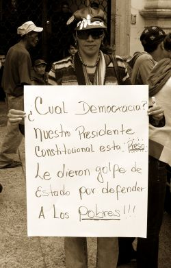 "Nov. 27, 2009 - A protestor holds a sign that asks, ""what democracy?"""